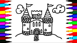 How To Draw And Color Castle L Kids Drawing Simple Coloring Pages Videos For
