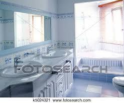klassische blau badezimmer innere fliesenmuster deko