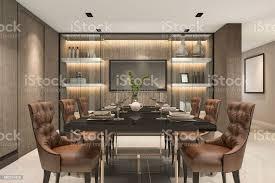 3d rendering essen inmitten eines modernen luxus braun esszimmer stockfoto und mehr bilder architektur