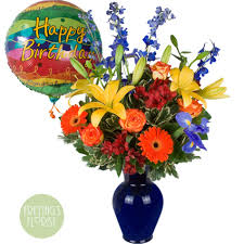 Color Birthday Bouquet with Mylar Balloon