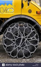 Snow Chains On Truck Tires. Osseja, Languedoc-Roussillon, Pyrenees ...