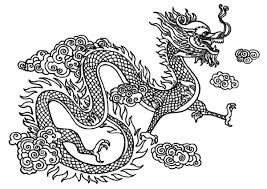 Chinese Dragon Fly Over The Clouds Colouring Page