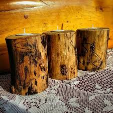 Rustic Wood Candle Holder Wedding Centerpieces Decor Home Country