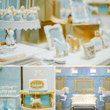 Baby Shower Ideas Blue Carousel Baptism