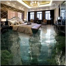 3D Green Trees And Mountain Reflecting In Lake Waterproof Non Slip Eco Friendly Floor Murals