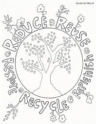 Reduce Reuse Recycle Doole Earth Day Coloring PagesSpring