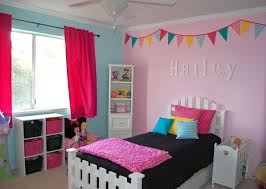 Pink And Blue Furniture Wall Decorations For Girls Bedrooms With Nice Painting
