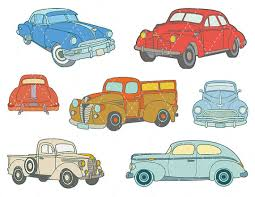 Digital Vintage Car Clip Art Antique ClipArt Retro Clipart Old Cars Blue Red Truck Scrapbooking Element 0132 From