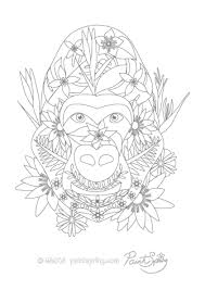 Gorilla Adult Coloring Page