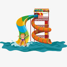 Vector Waterpark Slippery Slide Swimming Pool Game PNG And