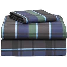 amazon com hton navy plaid 3 piece twin xl sheet set for