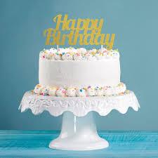 glitzer kuchen oder deko stecker happy birthday gold