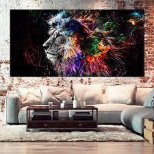 löwe leinwand bilder wandbild bunt kunstdruck tiere
