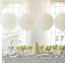 A Simple White Cake Gives The Table Focal Point While Large Balloons Create Fun And Easy To DIY Backdrop