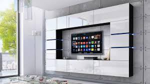 wohnwand bloom weiß hochglanz schwarz 264 cm mediawand medienwand design modern led beleuchtung mdf hochglanz hängewand hängeschrank tv wand