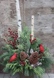 Winter Urn Arrangement With Pinecones Red Berries And Cardinals Perfect For Christmas Outdoor By Brendaq
