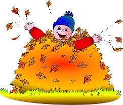 Child in leaves colored