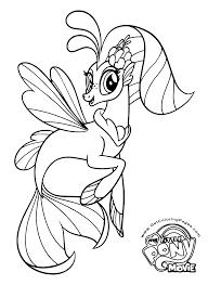 My Little Pony Movie 2017 Seaponies Mane 6 Princess Skystar Seapony Colouring Page