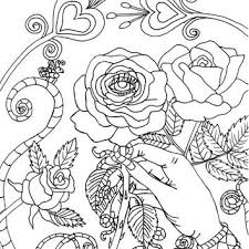 Evil Eye Rose Coloring Page Digital Book Printable Fantasy Gothic Art Po