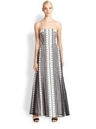 bcbgmaxazria kia lace overlay strapless gown in white lyst