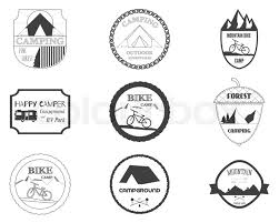 Set Of Retro Badges And Label Logo Graphics Camping Travel Emblems Mountain Bike Rv Park Motorhome Forest Campsite Theme
