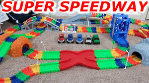 100 Monster Truck Track Set SUPER SNAP SPEEDWAY 2 CAR And MONSTER TRUCK RACING RACE TRACK YouTube