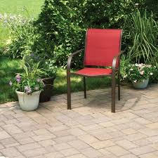 Stacking Steel Sling Patio Chair by Mainstays Stacking Sling Chair Red Paprika Walmart Com