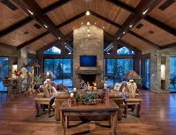 Natural Stone Fireplaces Family Room Rustic With Wood Ceiling Exposed Beams