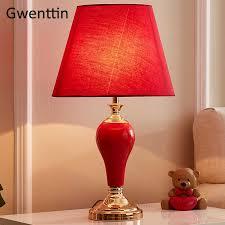 vintage rot keramik tisch len für wohnzimmer schlafzimmer hochzeit dekoration led stand schreibtisch leuchten home deco leuchte