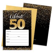 Black And Gold 50th Birthday Party Invitation Cards With Envelopes ...