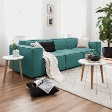 sofa kinx 3 sitzer petrol strukturstoff 260x72x96 modern