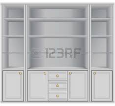 White Storage Cabinets With Drawers by White Storage Cabinet With Four Shelves And Three Drawers Vector