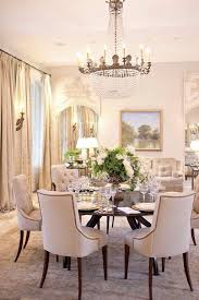 Reclaimed Wood Trestle Dining Table With Beige Tufted Nailhead Throughout Luxurious Linen Room Chairs Regarding Round