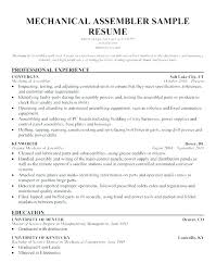 Sample Resume Production Worker Assembly Line For