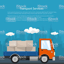 100 Motor Truck Cargo Poster With Small On The Road Stock Illustration