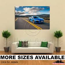 wall canvas picture print audi r8 v10 blue road 3 2
