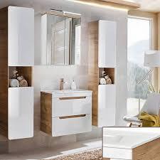 badezimmer spiegelschrank 60cm led beleuchtung luton 56 hochglanz weiß mit wotaneiche b h t ca 60 70 20 cm