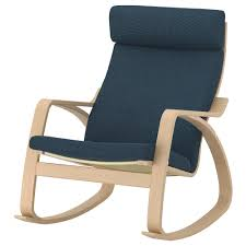POÄNG Rocking-chair - White Stained Oak Veneer, Hillared Dark Blue ...