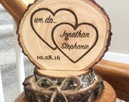 Rustic Wedding Cake Topper Wood Heart Engraved