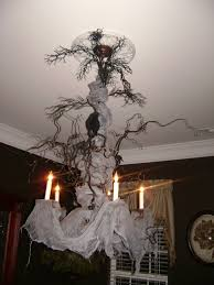 Scary Cubicle Halloween Decorating Ideas by Creepy Halloween Chandelier Very Cool Cheesecloth Dried