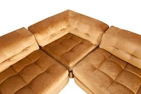 100 Roche Bobois Leather Sofa Vintage Modular Mah Jong Sofa In Gold Velvet By 1970s