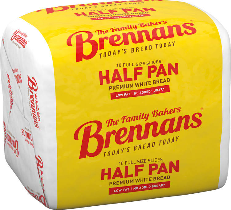 Brennans Half Pan Premium White Bread - Sliced, 400g