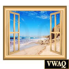 Wall Mural Decals Nature by Sandy Beach Wall Decal Window Frame Peel And Stick Wall Mural Nw61