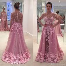 pink illusion back girls formal occasion evening dress long