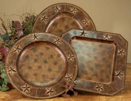 4 Pc 165 Oval Rustic Barn Star Western Charger Plates