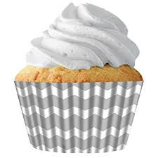 Silver Chevron Standard Cupcake Baking Cup Liners 32 Count By Creations Siege