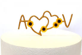 Sunflower Initials Cake Topper PersonalizedRustic Heart TopperRustic Wedding TopperSunflower