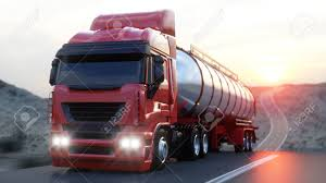 100 Gasoline Truck Tanker Oil Trailer On Highway Very Fast Driving