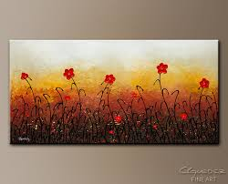 Red Flower Garden Abstract Art Painting Image By Carmen Guedez