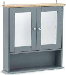 vonhaus badezimmer spiegelschrank medizinschrank mit regalfächern zur befestigung an der wand modernes grau
